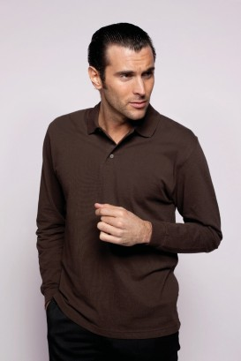 Polo NOA homme manches longues chocolat
