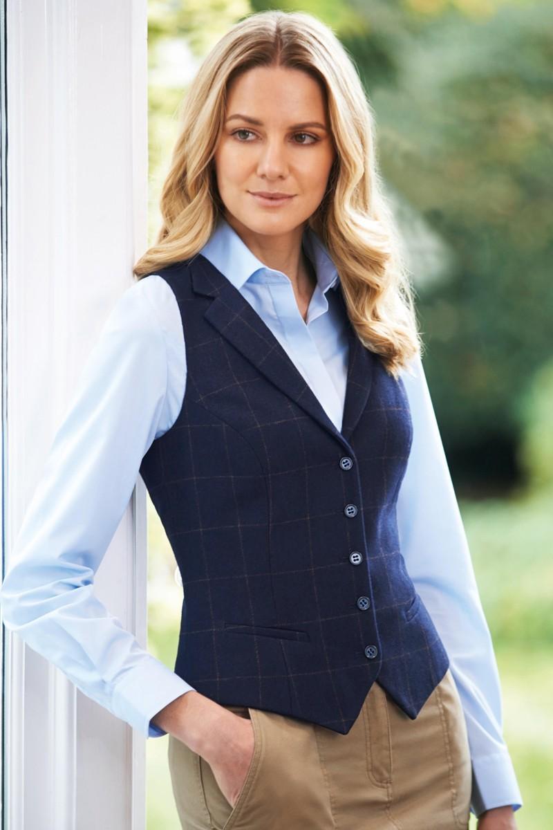 Gilet Femme Nashville bleu marine à carreaux